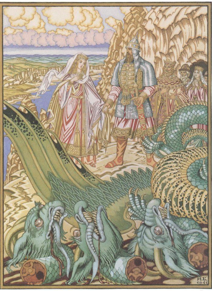 Иван Яковлевич Билибин: «Бой Добрыни со Змеем»