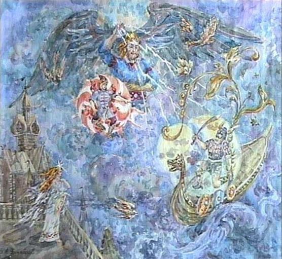 Небесная свадьба. (А. Н. Фанталов, 1996). Картина показывает сюжет, присутствующий в славянской и балтской мифологиях. В одном из вариантов Месяц похищает невесту солнца - утреннюю зарю, но Перун разрубает его надвое. (Перун принадлежит к типу громовержца, широко распространенного в индоевропейских мифологиях (Перкунас - балтская мифология, Парджанья - индийская мифология, Тор - скандинавская мифология, Донар - германская мифология, Таранис - кельтская мифология, Тархунт - хеттская мифология). Священный день недели громовержца - четверг, священная птица - орел, священное дерево - дуб, священное оружие - молот или топор.