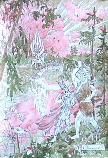 """Путь Даждьбога. (А. Фанталов, 1997). Велес и Баба Яга подстерегают Даждьбога. Мотив напоминает историю смерти Бальдра (скандинавская мифология). При этом надо отметить, что пары: Велес - Даждьбог и Один - Бальдр соответствуют друг другу (хотя в """"Эдде"""" Бальдра губит Локи, ряд исследователей считает, что первоначально это был Один. Вообще, данная коллизия очень сложна)."""