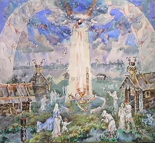 Легенда о священном золоте. (А.Н. Фанталов, акварель). Скифский (а возможно и славянский (если это - не одно и то же, - прим. авт.) миф гласит о том, что с неба выпали три чудесных предмета: плуг, секира и чаша. Трое братьев - сыновей царя пытались завладеть ими, но достались они лишь младшему, который и унаследовал отцовский престол. Вероятно, подателем этих реликвий являлся Сварог - славянский бог неба.