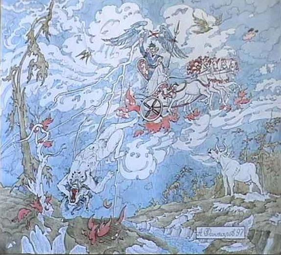 Падение Велеса. (А. Н. Фанталов, акварель, тушь). Миф о свержении Велеса с неба Перуном.