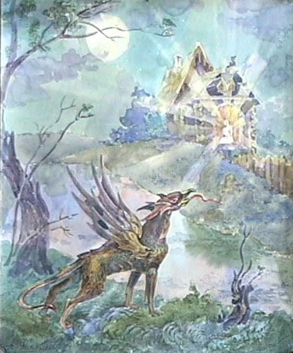 Скимен-зверь русских былин. (А. Н. Фанталов, акварель и тушь)