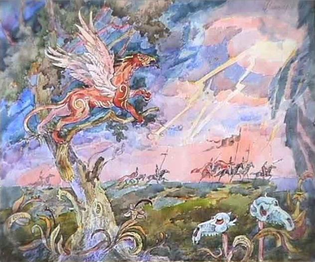 Русский грифон. (А. Н. Фанталов, акварель и тушь).